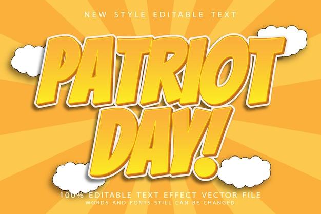 Bewerkbaar teksteffect van patriotdag in reliëf in moderne stijl