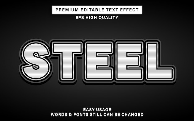 Bewerkbaar teksteffect van staal