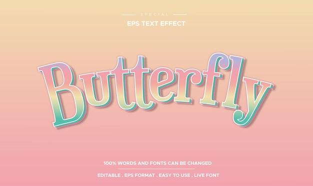 Bewerkbaar teksteffect, vlinderstijl