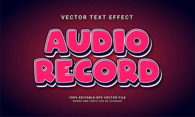 Bewerkbaar teksteffect voor audio-opname