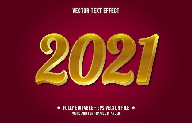 Bewerkbaar teksteffect voor het nieuwe jaar 2021 gouden stijlsjabloon