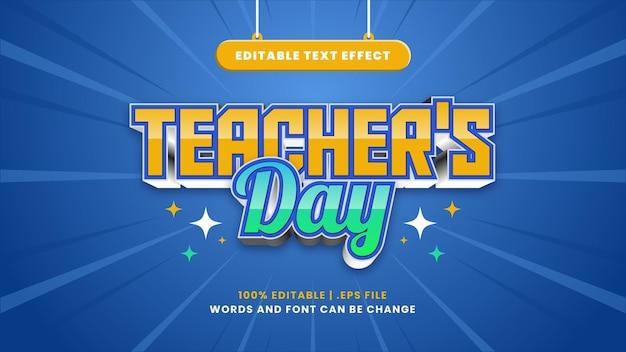 Bewerkbaar teksteffect voor lerarendag in moderne 3d-stijl