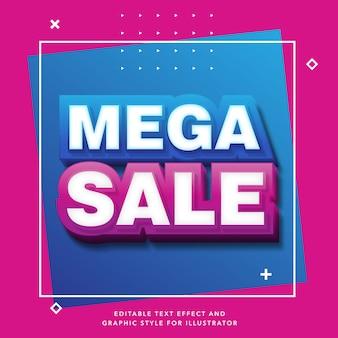 Bewerkbaar teksteffect voor mega-verkooplabel