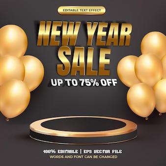 Bewerkbaar teksteffect voor nieuwjaarsverkoop met 3d-realistisch luxe zwartgouden podium