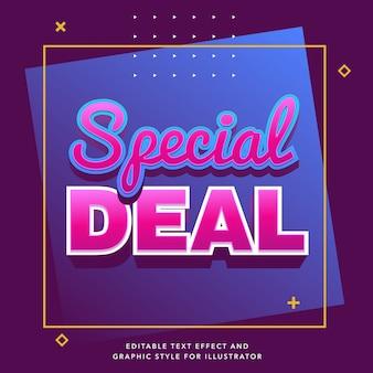 Bewerkbaar teksteffect voor speciale dealverkooplabel