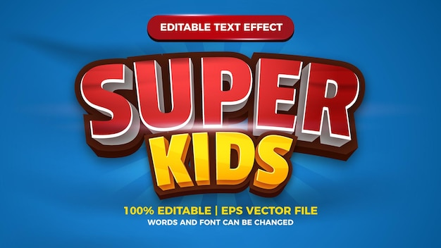 Bewerkbaar teksteffect voor superkinderen voor titelstijlsjabloon voor stripverhalen