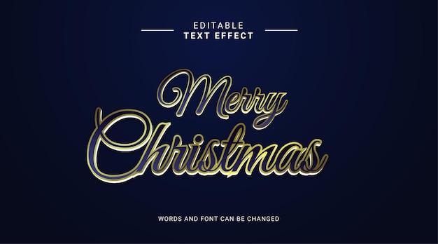 Bewerkbaar teksteffect vrolijk kerstfeest elegante stijl en elegante kleur goud