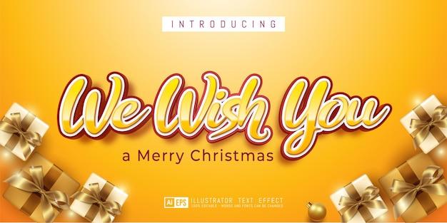 Bewerkbaar teksteffect we wensen je 3d-stijl geschikt voor kerstbanner