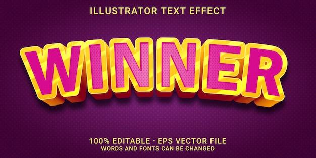 Bewerkbaar teksteffect - winnaarstijl