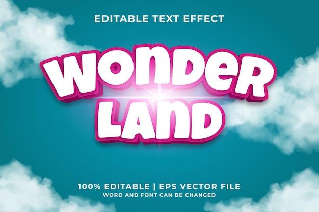 Bewerkbaar teksteffect - wonderland-stijlsjabloon premium vector
