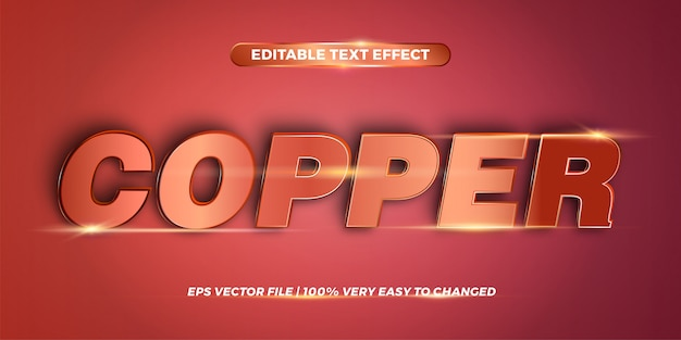 Bewerkbaar teksteffect - word copper