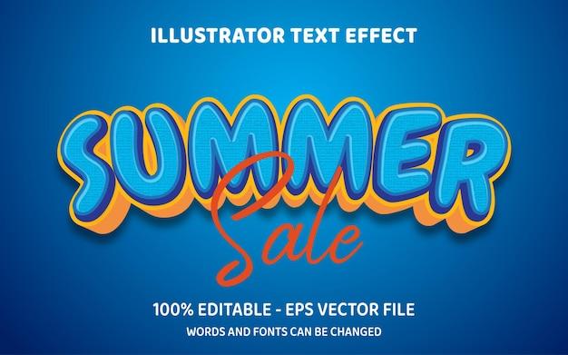 Bewerkbaar teksteffect zomeruitverkoop 3d-stijlillustraties