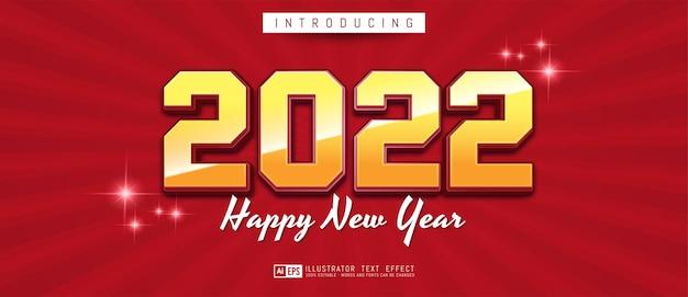 Bewerkbaar tekstnummer gelukkig nieuwjaar 2022 met 3d-stijleffect