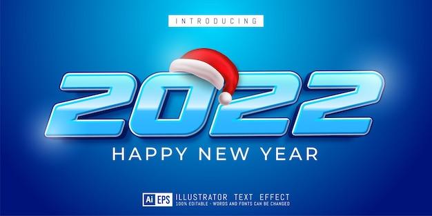 Bewerkbaar tekstnummer gelukkig nieuwjaar 2022 modern ontwerp op blauw concept