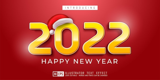 Bewerkbaar tekstnummer gelukkig nieuwjaar 2022 modern ontwerp