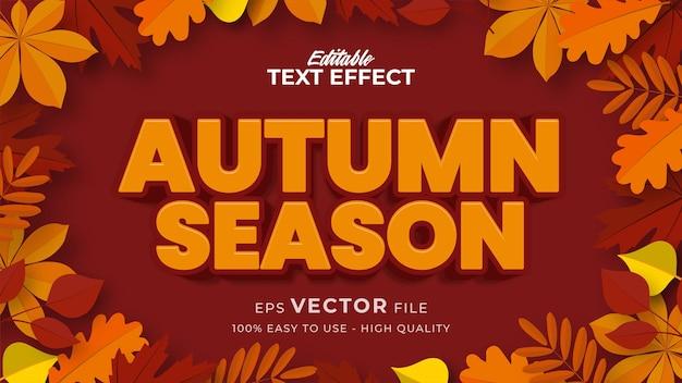 Bewerkbaar tekststijleffect - herfsttekst met afbeelding van esdoornbladeren