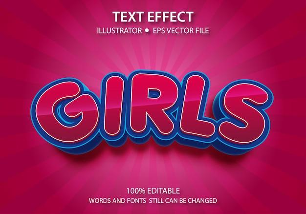 Bewerkbaar tekststijleffect leuke meisjes