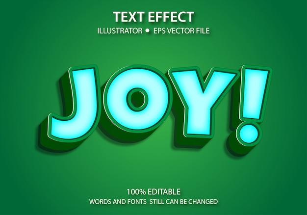 Bewerkbaar tekststijleffect leuke vreugde Premium Vector
