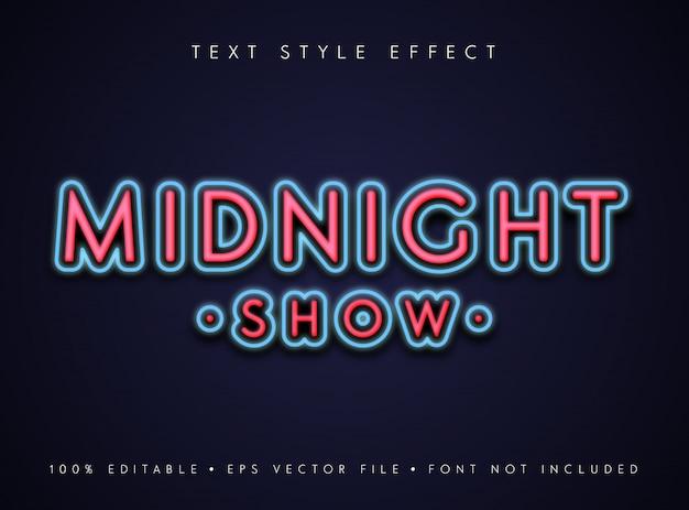 Bewerkbaar tekststijleffect middernachtshow in neon retro-stijl