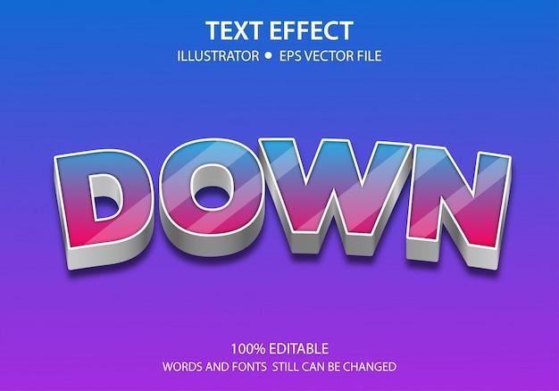 Bewerkbaar tekststijleffect omlaag Premium Vector