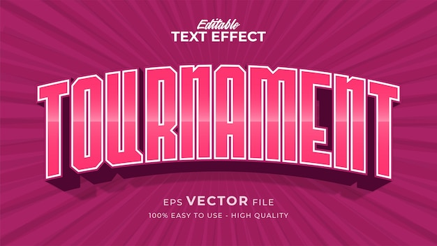 Bewerkbaar tekststijleffect - roze toernooitekststijlthema