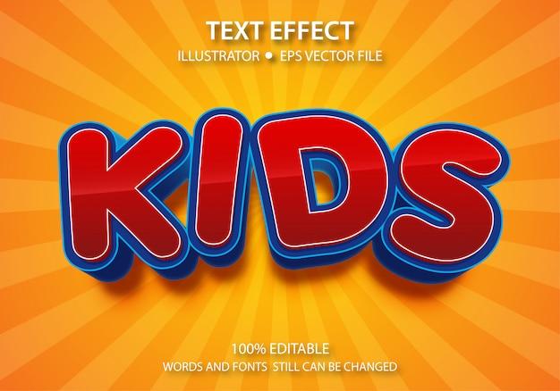 Bewerkbaar tekststijleffect schattige kinderen