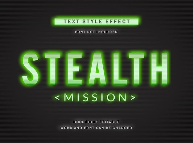 Bewerkbaar tekststijleffect, stealth operation mission military digital computer green text effect