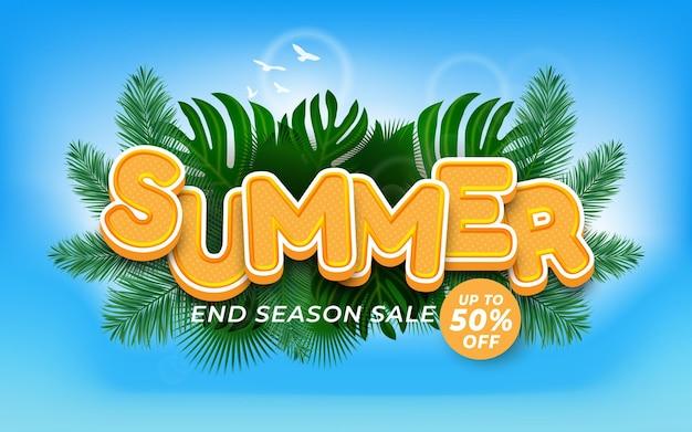 Bewerkbaar zomerteksteffect einde seizoen zomerverkooppromotie