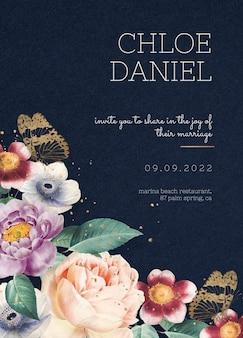 Bewerkbare blauwe valentijnsdag bloemen uitnodigingskaart sjabloon vintage stijl