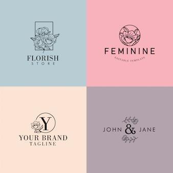 Bewerkbare bloemen vrouwelijke minimalistische premade logo set