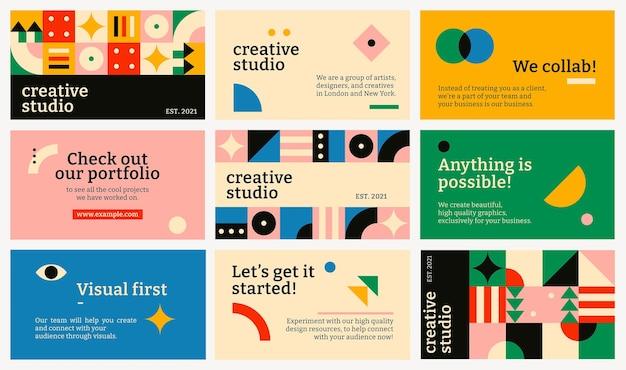 Bewerkbare blog banner sjabloon vector bauhaus geïnspireerd platte ontwerpset