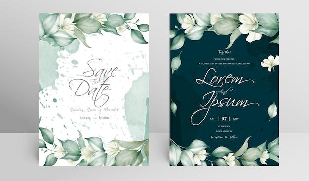 Bewerkbare bruiloft uitnodiging kaartensjabloon met arrangement floral frame en aquarel