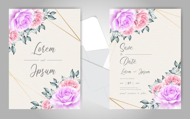 Bewerkbare bruiloft uitnodigingskaarten met bloemen en geometrische frame