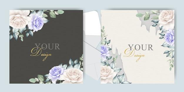Bewerkbare bruiloft uitnodigingskaarten met elegante bloemen en bladeren