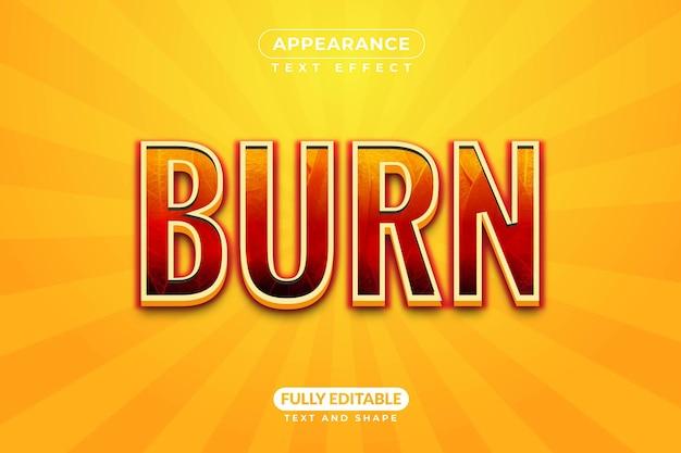 Bewerkbare burn fire texture teksteffectstijl