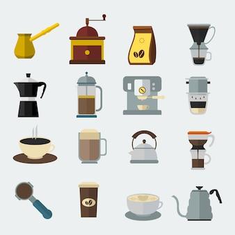 Bewerkbare cofee uitrustingen icon set in flat style