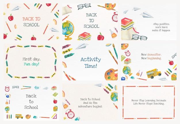 Bewerkbare educatie banner sjabloon vector set voor terug naar school illustratie