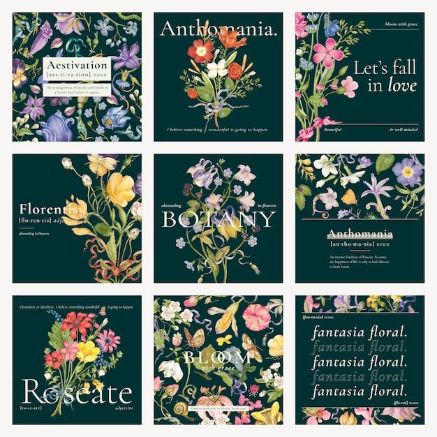 Bewerkbare esthetische bloemensjabloon vector blog sociale media postverzameling