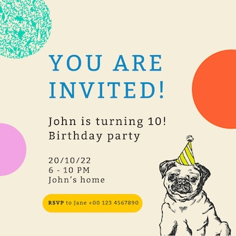 Bewerkbare feestsjabloon voor post op sociale media met citaat, u bent uitgenodigd