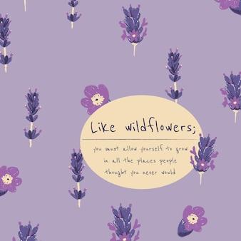 Bewerkbare florale esthetische sjabloon voor post op sociale media met inspirerend citaat