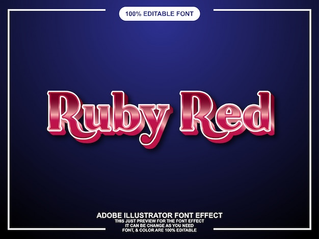 Bewerkbare grafische stijl ruby red gloss-tekst