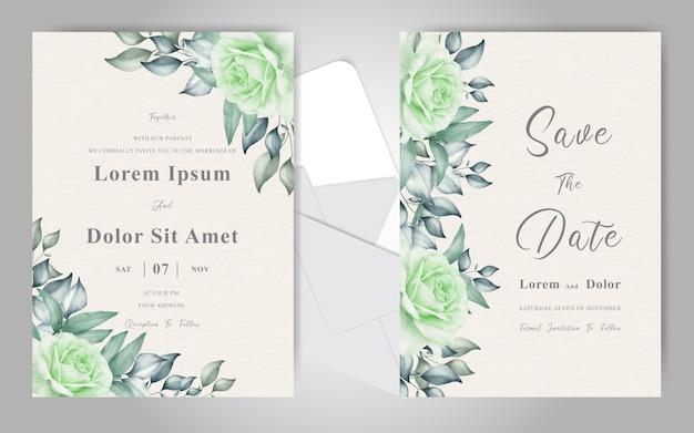 Bewerkbare groen gebladerte bruiloft uitnodigingskaart set met elegante bloemen en bladeren