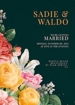 Bewerkbare groene bloemen bruiloft uitnodiging kaartsjabloon in vintage stijl
