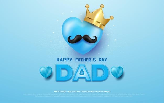 Bewerkbare happy fathers day kroon en snor in blauw.