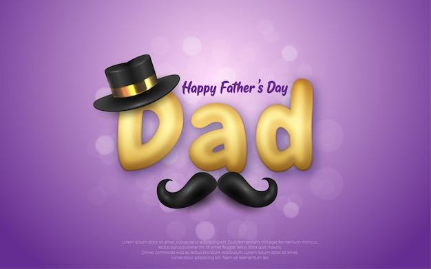 Bewerkbare happy fathers day zwarte hoed en snor in paars.