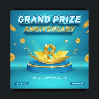 Bewerkbare hoofdprijs verjaardag blauw en goud, sjabloon voor spandoek voor sociale media