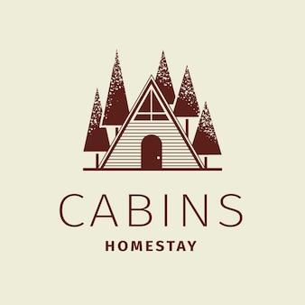 Bewerkbare hotel logo vector zakelijke huisstijl met hutten homestay tekst