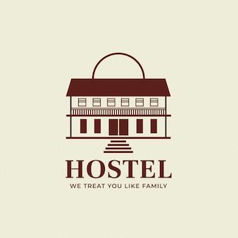 Bewerkbare hotel logo vector zakelijke huisstijl voor een hostel