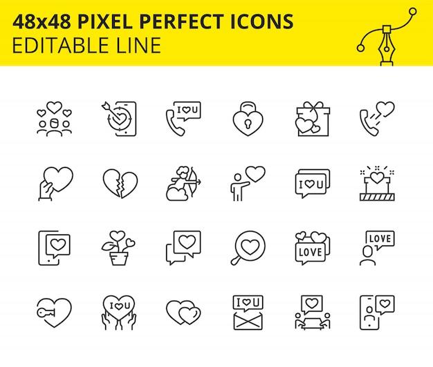 Bewerkbare iconen van valentijnsdag