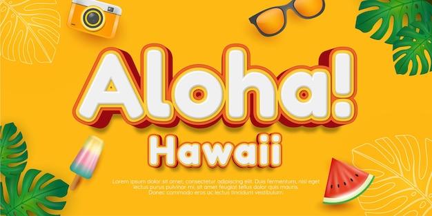 Bewerkbare illustraties in aloha-stijl met teksteffect